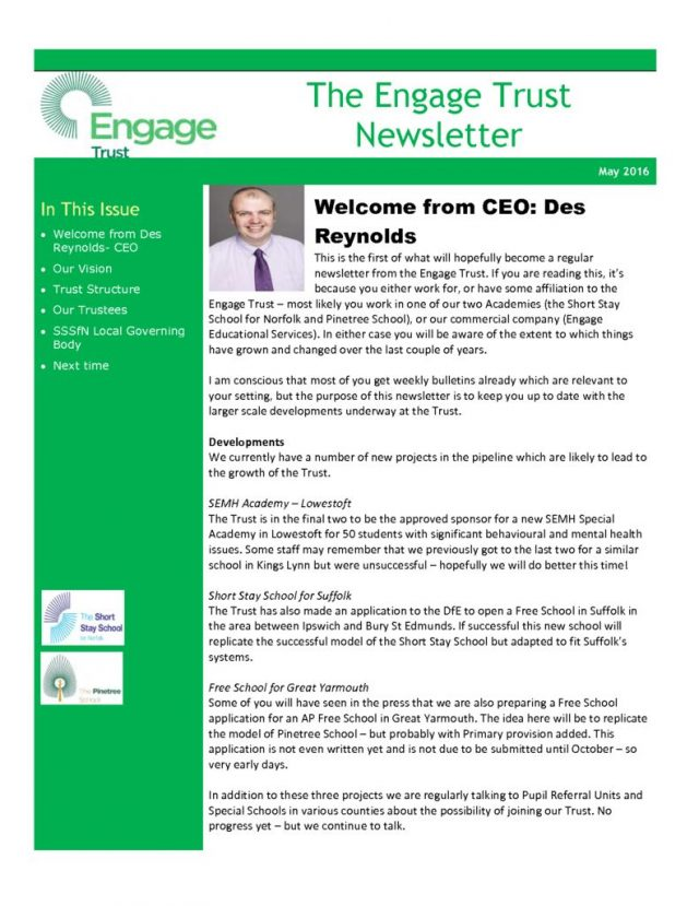 thumbnail of The Engage Trust Newsletter May 2016
